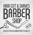 vintage typeface barbershop font vector image vector image