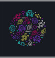 vivid color sea life icons in circle composition vector image