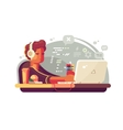 Web developer works on laptop vector image
