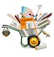Wheelbarrow with Painting Tools vector image