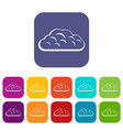 winter cloud icons set flat vector image vector image