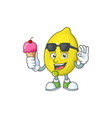 with ice cream lemon character with design cartoon vector image vector image