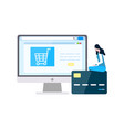 woman ordering online purchasing items with card vector image vector image