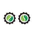 yin yang leaf gear cog wheel agriculture farm logo vector image