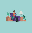 young man black on the livingroom vector image