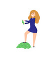 young redheaded girl put one her foot on pile of vector image