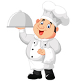 Chef holding a metal food platter vector image