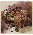 Coffee watercolor cartoon hand lettering and vector image