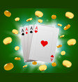 poker cards and explosion of coins casino concept vector image