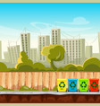recycle waste bins with cityscape background vector image