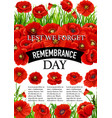11 november remembrance day poppy poster vector image vector image