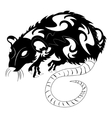 a rat black and white vector image vector image