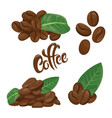 a set of coffee beans a collection of coffee vector image vector image