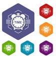 alarm clock icons hexahedron vector image vector image