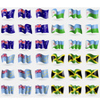 Australia Djibouti Tuvalu Jamaica Set of 36 flags vector image vector image