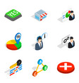 business deal icons set isometric style vector image vector image