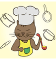 Cat chef with ladle in his paws and cap vector image
