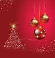 Christmas ball tree red background