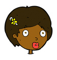 comic cartoon surprised female face vector image vector image