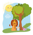 cute animals lion with crown and owl grass forest vector image vector image