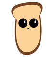 cute piece bread on white background vector image vector image