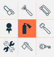 equipment icons set collection of firefighter vector image vector image