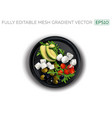 feta and mozzarella cheese with vegetables on a vector image