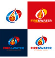 fire and water restoration icon and logo vector image vector image