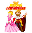 font design for word kings and queens on white vector image