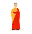 full body of buddhist monk with orange robes vector image vector image