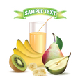 glass with juice kiwi bananas and pear vector image vector image
