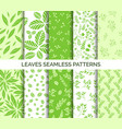 green leaves seamless pattern set backgrounds vector image