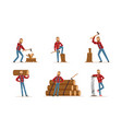 handsome bearded lumberjack in plaid shirt at work vector image vector image