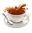hot chocolate splash in white cup vector image vector image