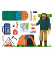 isolated icons for tourism journey man backpack vector image