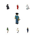 isometric person set of pedagogue medic officer vector image vector image
