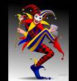joker with playing cards and mirror on dark vector image
