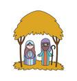 joseph and mary hut manger nativity merry vector image vector image