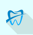 label tooth logo icon flat style vector image
