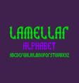 lamellar isolated english alphabet bright green vector image vector image