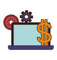 laptop computer screen with dollar symbol vector image vector image