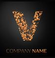 letter v logo gold dots alphabet logotype vector image vector image
