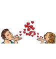 love couple kiss heart vector image