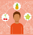 man portrait with organic fresh fruits image vector image vector image