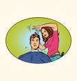 mens haircut female hairdresser vector image vector image