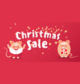 merry christmas sale banner with cute rats or vector image vector image