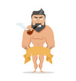 muscle man with a pipe vector image vector image