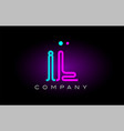 neon lights alphabet il i l letter logo icon vector image vector image
