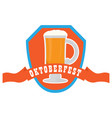 oktoberfest label with beer icons vector image vector image