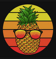 pineapple eyeglasses sunset vector image